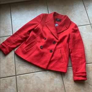 Talbots Red Double Breasted Pea Coat Size 8P